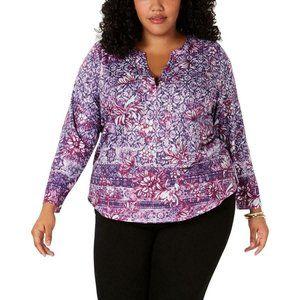 Style & Co Women Plus Floral Split Neck Blouse Top